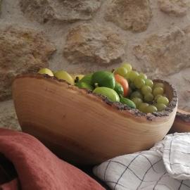 Grande coupe à fruit en frêne de Fabien Haurat / Torchon Linge Particulier ©GARANCE CASSIEN