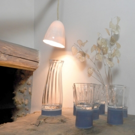 La carafe et le verre - Collection Moire - Bleu gris - Atelier George - Photo ©GARANCE CASSIEN