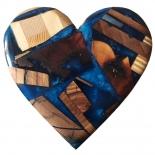 Coeur bois et résine différente couleur à personnaliser - Chat d'Eau Design Corse - Photo © Chat d'Eau