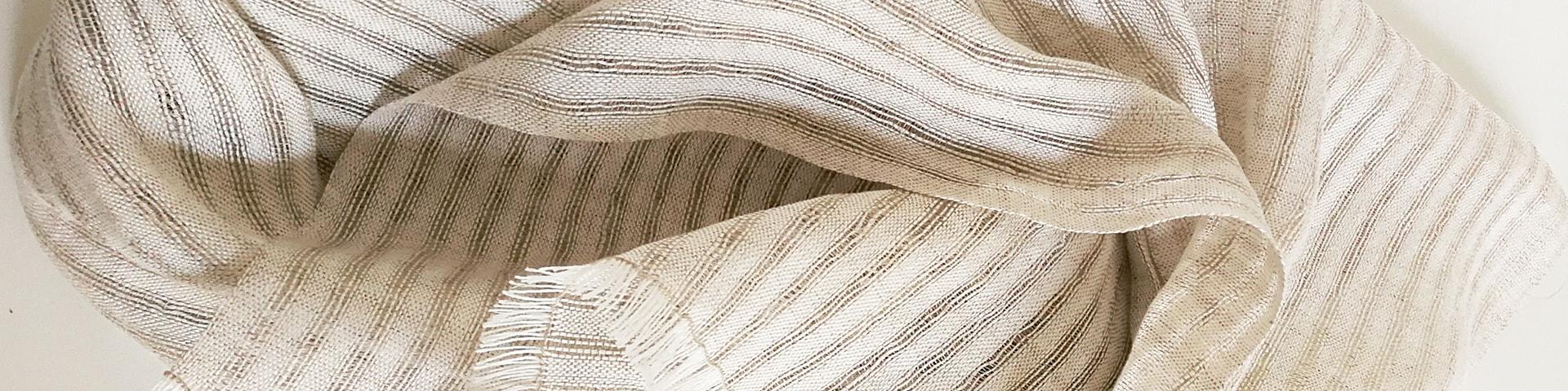 Etole 100% lin blanc et naturel- Création exclusive Textile Nomade ©GARANCE CASSIEN